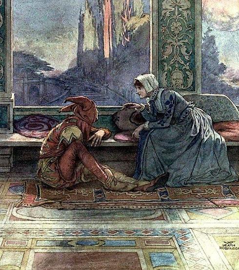 illustration på narren och flicka
