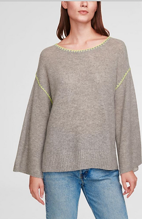 grey cashmere sweater with yellow detail