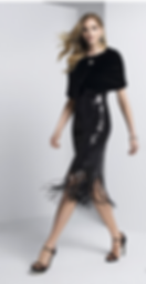 Black sequin dress with fringe