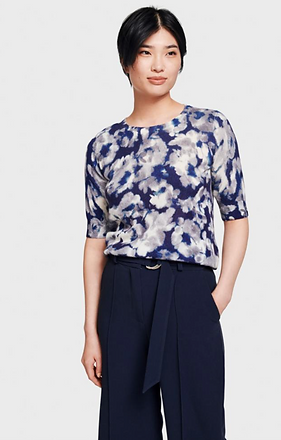 Floral cashmere short sleeve  sweater