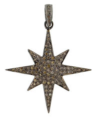 Diamond 8 Point Starburst Charm in Oxidi