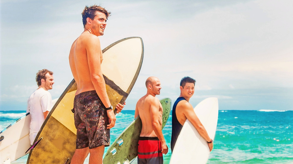 Bachelor and friends surfing