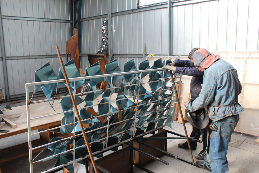 Stainless steel sculpture in process