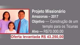 Valor levantado para o projeto missionário 2017