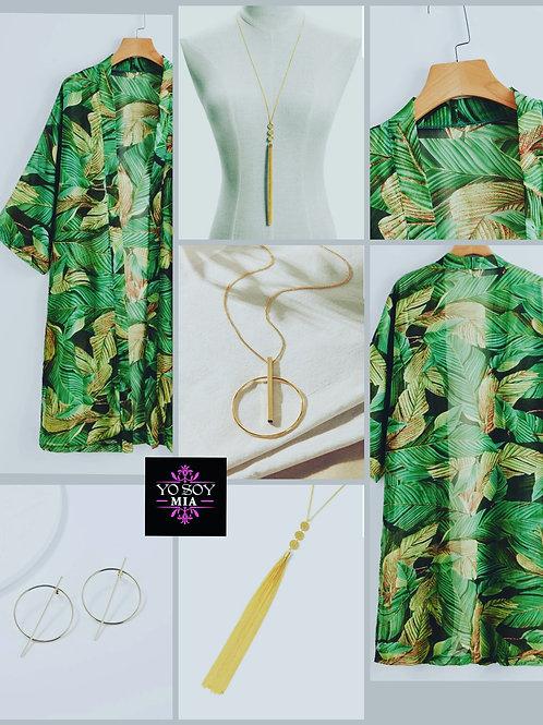 Palm Print Sheer Kimono