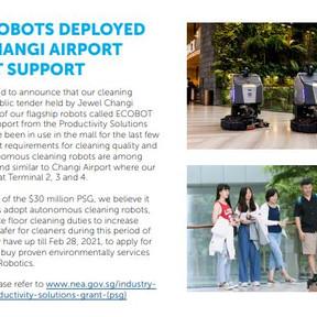 Cleaning Robots Deployed at Jewel Changi