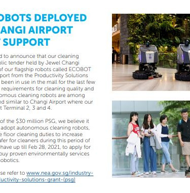 Cleaning Robots Deployed at Jewel Changi