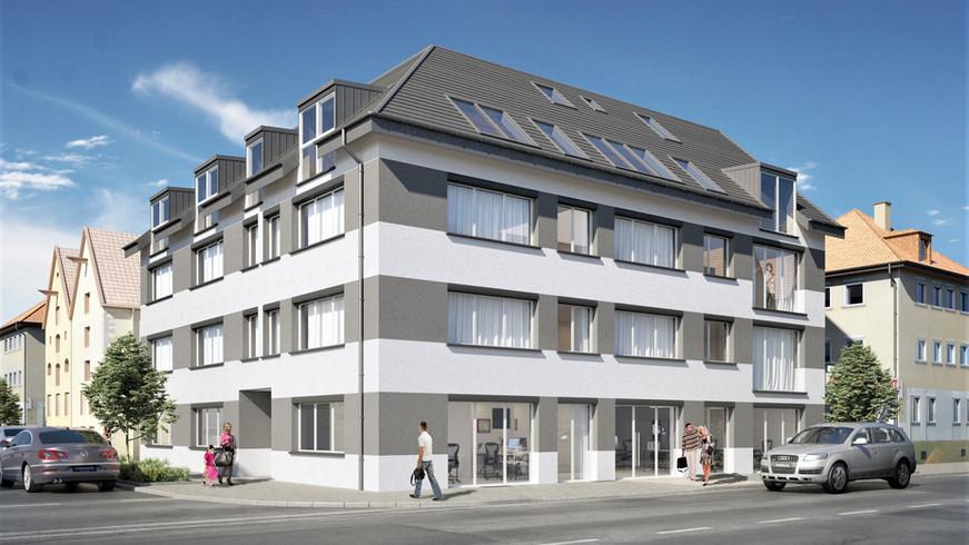 NEUBAU EINES WOHN- + GESCHÄFTSHAUSES | 70563 Stuttgart-Vaihingen | Ackermannstr. 2