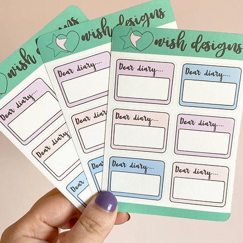 Dear Diary Sticker Sheet