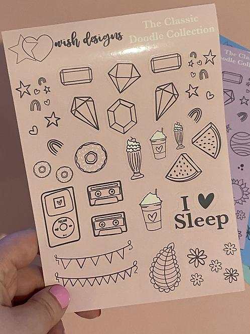 Pink Classic Doodles Large Sheet