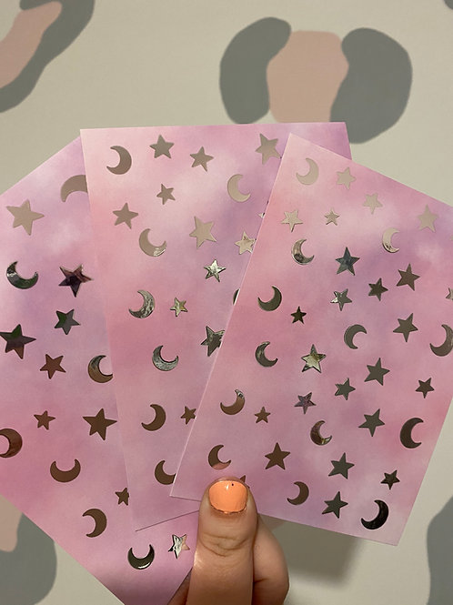 Stars & Moons Foiled Postcard