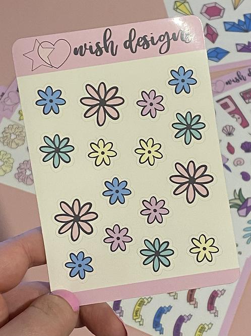 Pastel Flowers Small Sticker Sheet