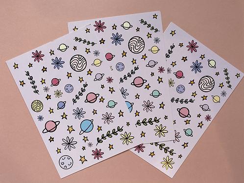 A6 Botanical Galaxy Postcard