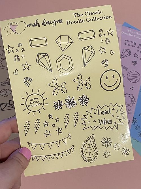 Yellow Classic Doodles Large Sheet