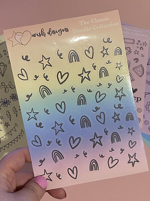 Rainbow Hearts & Stars Classic Doodles Large Sheet