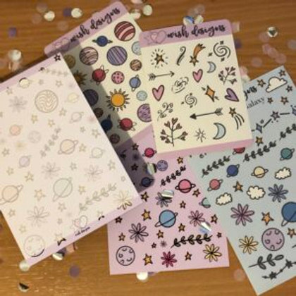 Botanical Galaxy A6/Weekly Planner Notepad & Sticker Bundle