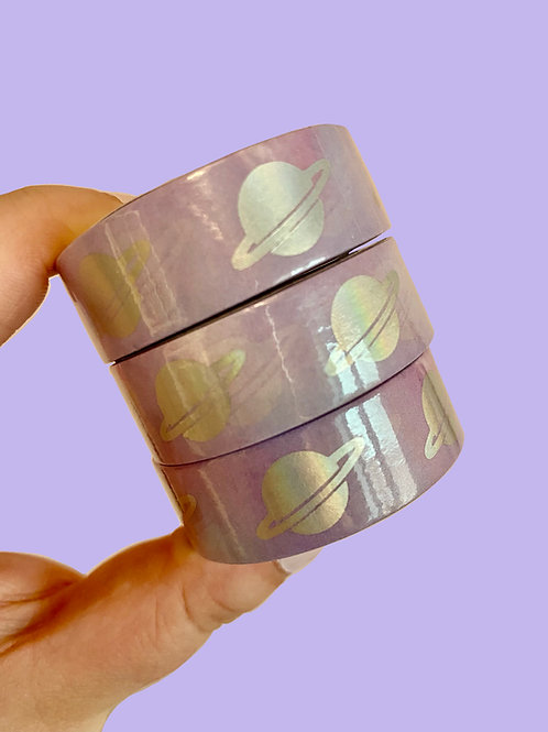 15mm Purple Holographic Planets Washi Tape