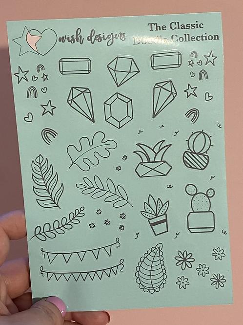 Green Classic Doodles Large Sheet