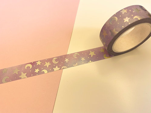 15mm Purple Holographic Stars & Moons Washi Tape