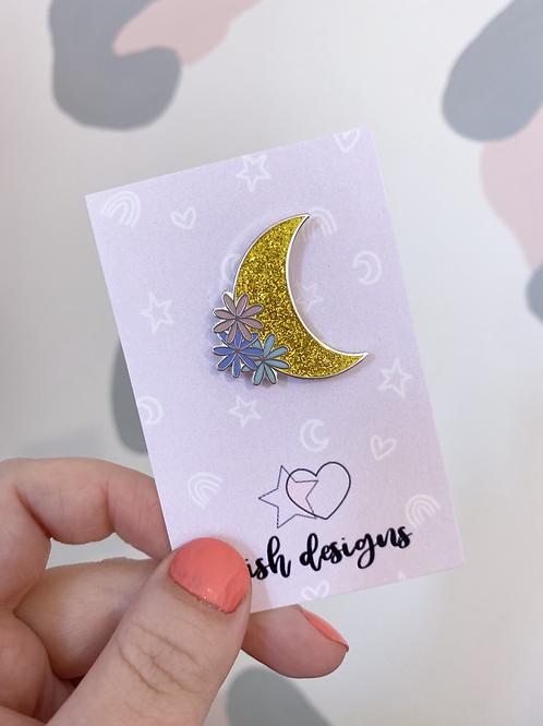 Moon & Flowers Hard Enamel Pin