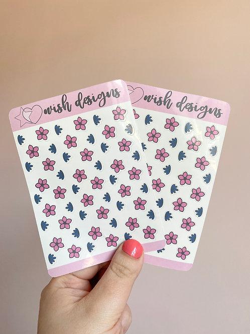 Pink & Navy Flowers Sticker Sheet