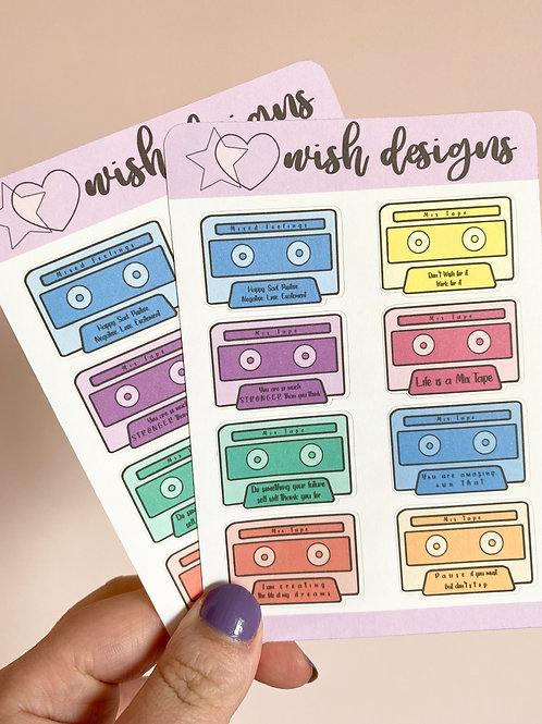 Motivational Cassettes Sticker Sheet