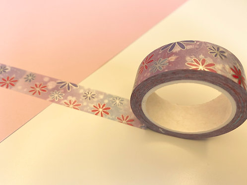 15mm Purple Holographic Flowers Washi Tape