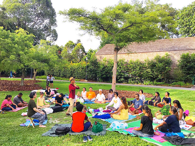 Outdoor healing meditation in Singapore