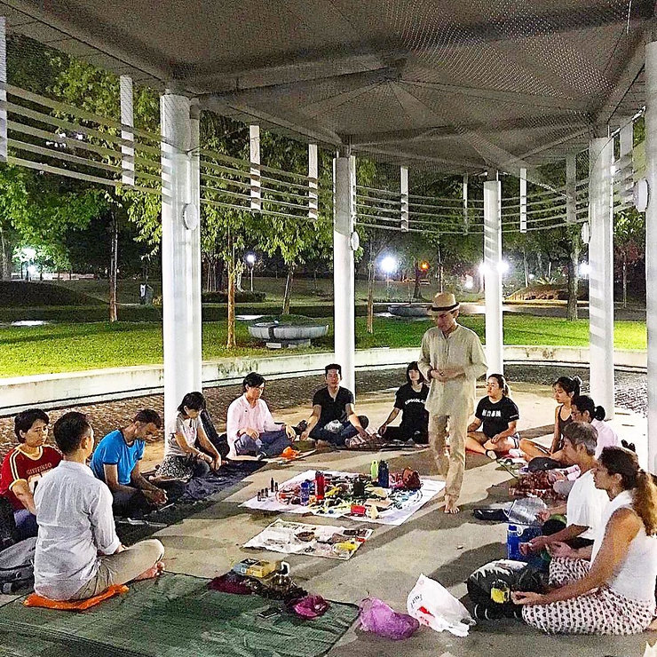 Outdoor group healing meditation