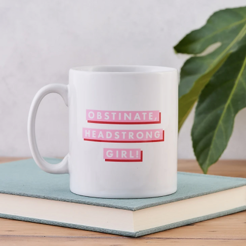 """Bookishly pink & red """"Obstinate Headstrong Girl"""" mug"""