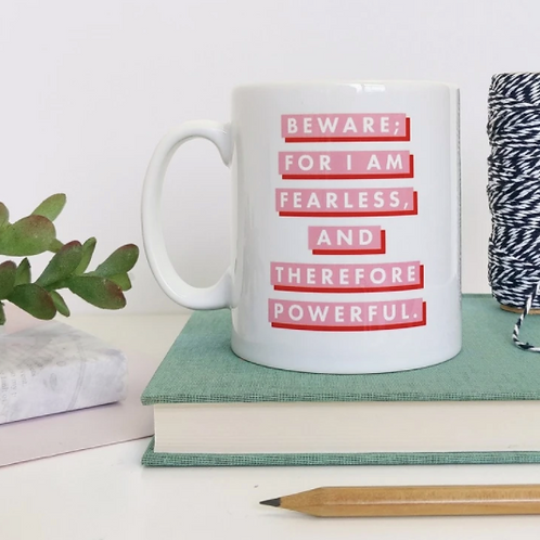 "Bookishly pink & red ""Fearless"" mug"