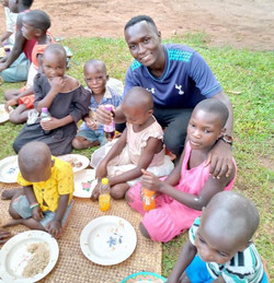 Ggita has a few laughs with the children during Easter.