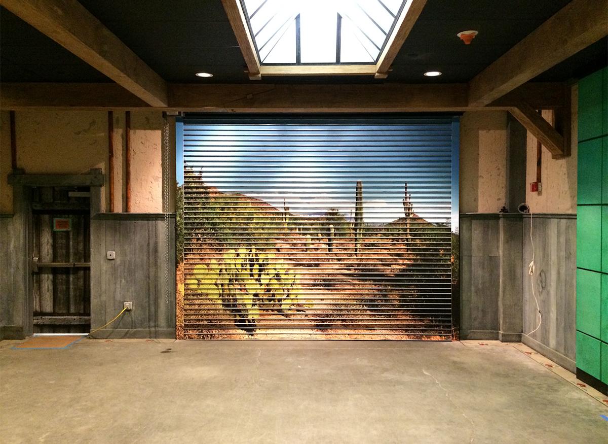Images mounted on Garage Doors