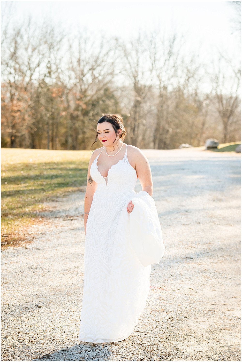 plunging neckline on winter wedding dress