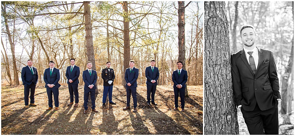 groomsmen and groom, winter wedding