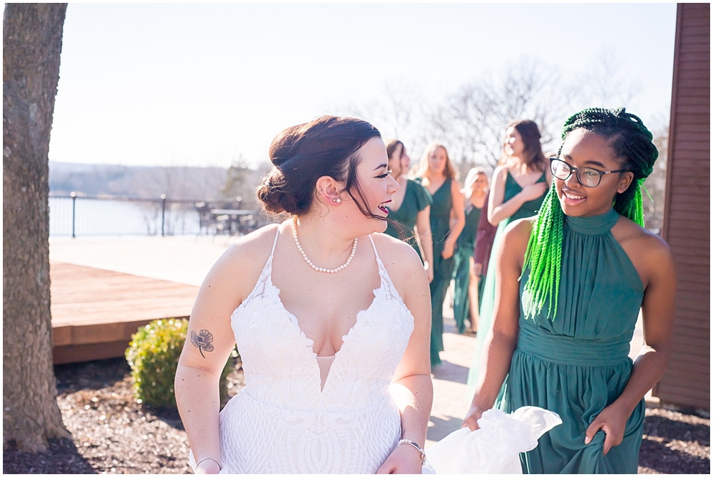 bride and bridesmaid walking together