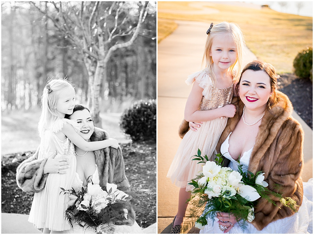 bride and flower girl, winter wedding, Innsbrook Resort