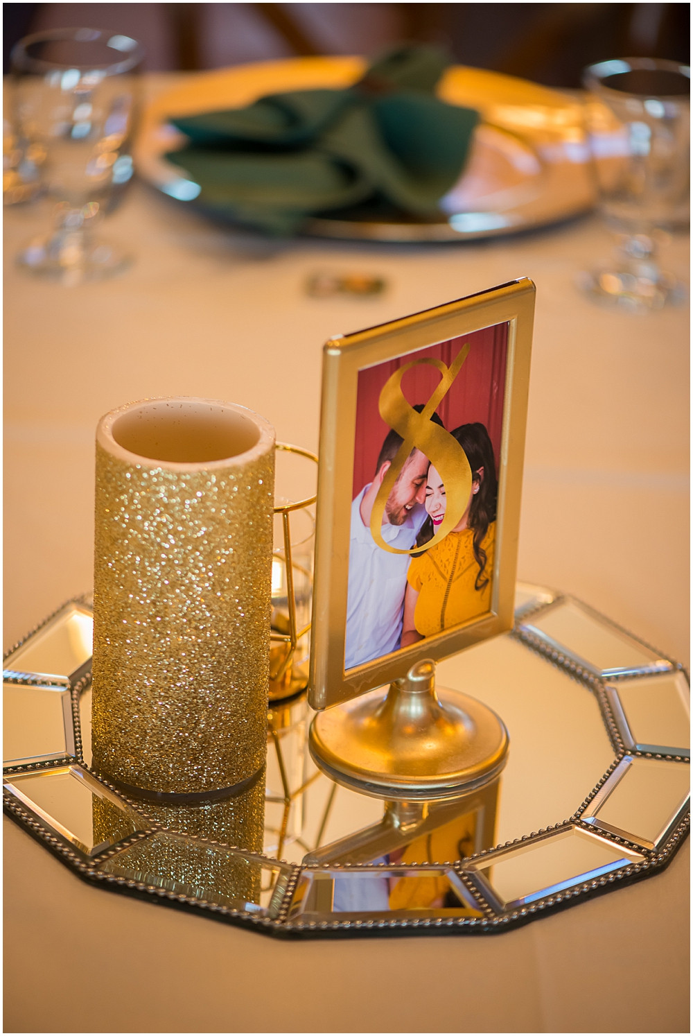 reception, table centerpieces, gold accents with green