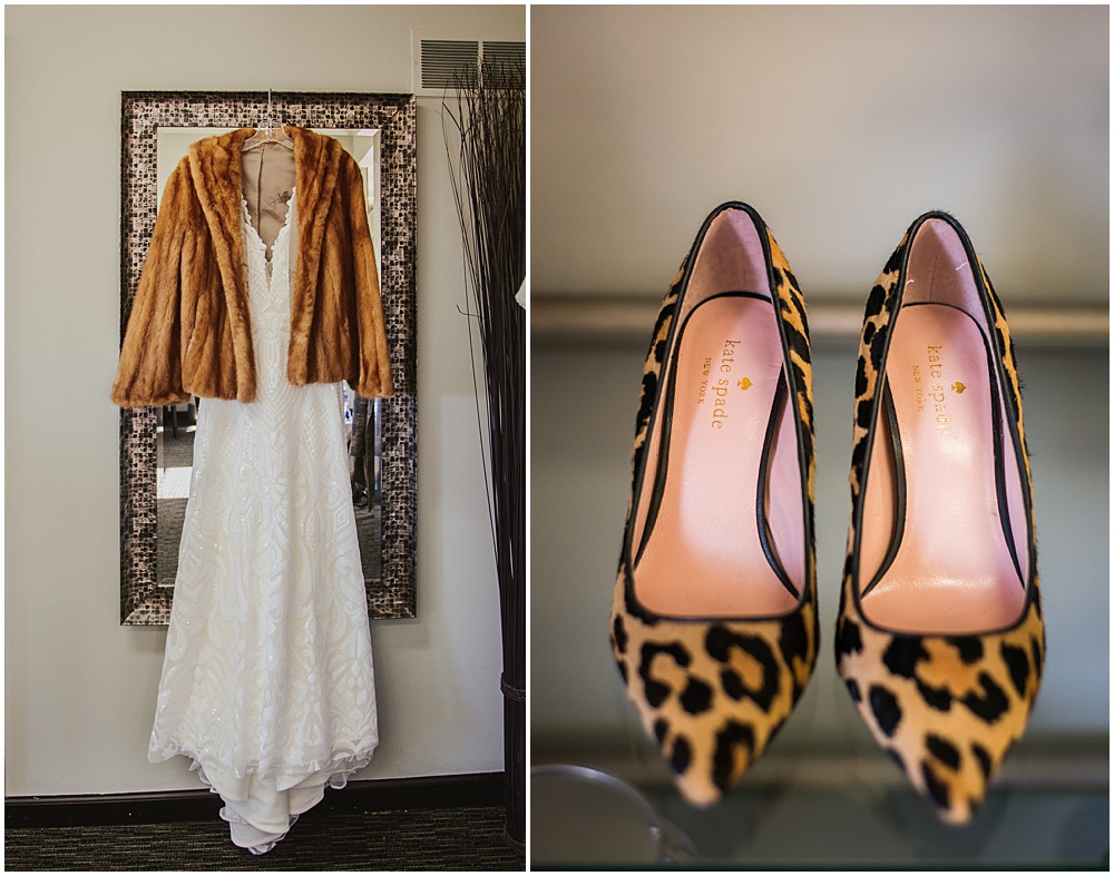 wedding dress, winter wedding, Kate Spade shoes, fur coat