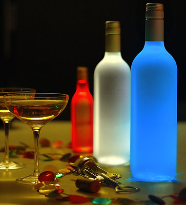 3 Glow Bottle Lights in party scene with wine glasses red white and blue bottles