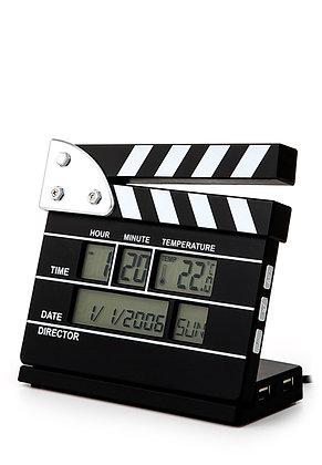 Clapperboard Alarm Clock 4 port USB Hub displays date time temperature
