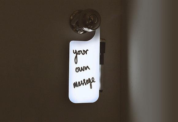 Door hanger memo light write your own message to hang on a door knob