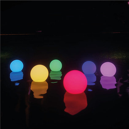 Waterproof Colourful LED Light Orbs in swimming pool