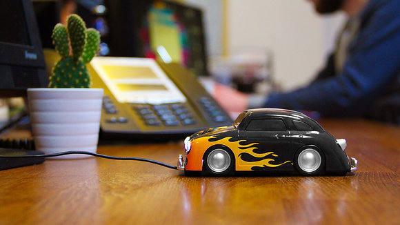 Flaming Hot Rod Car mouse on office desk