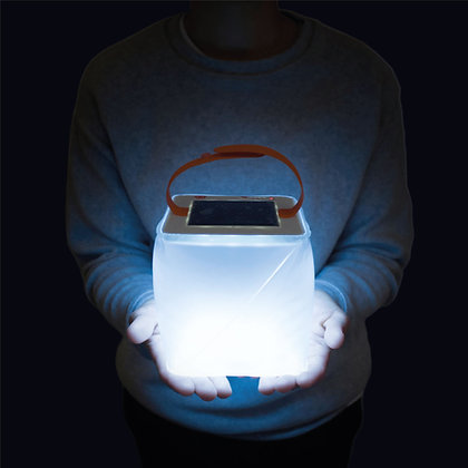 Solar Light Lantern in hands whilst camping