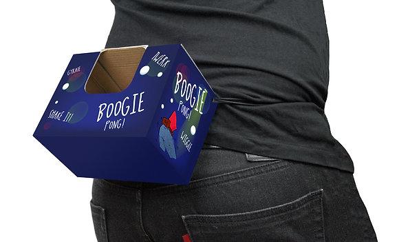 Man wearing Boogie Pong box
