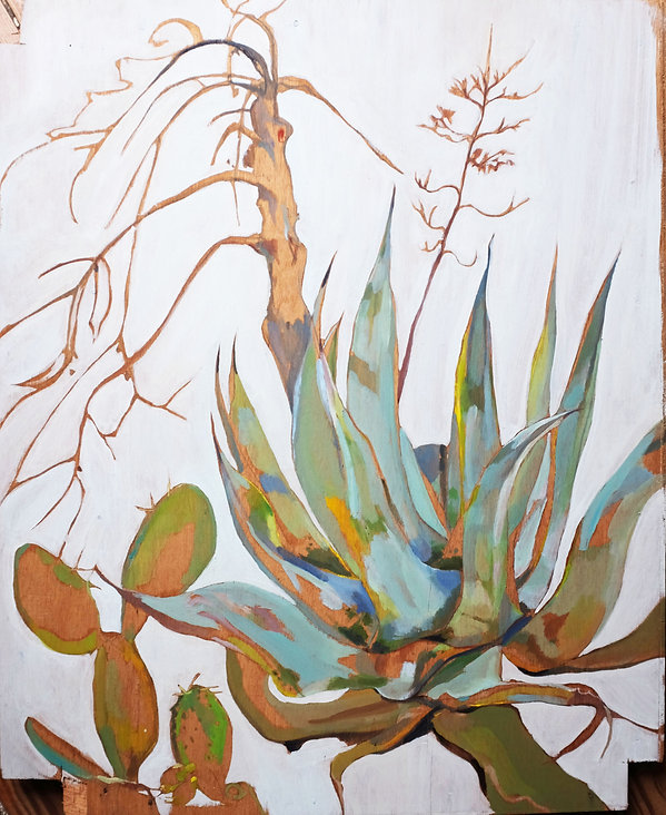 Original painting for sale by Maxime Longden. Oil painting on board of the stark and contrasting shapes of cacti and trees, painted with expressive strokes and powdery sea greens and blues with gold and yellow highlights.