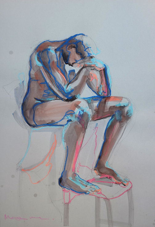 Original painting for sale by Maxime Longden. An experimental mixed media drawing of a life model in pastels and watercolour with electric blue highlights.