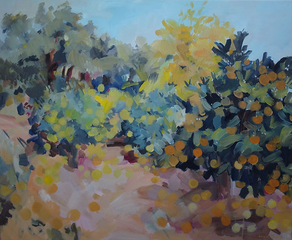Original painting for sale by Maxime Longden. A large abstracted oil painting of an abandoned orchard in bright colours and joyful abstracted shapes.