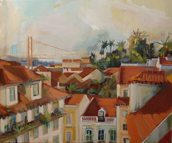 Original painting for sale by Maxime Longden. A softly textured oil painting of the eclectic disrepair of Lisbon, Portugal, in which buildings are jumbled against palm trees and the iconic terracotta bridge. Oil paint on a medium sized canvas.